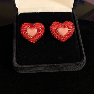 Pink and Red Ruby Stoned Heart Shaped Earrings